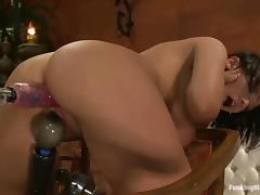 Halie James oils her snatch and gets it ripped apart by a fucking machine