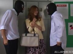 Akari Asahina gets fucked by two guys in masks