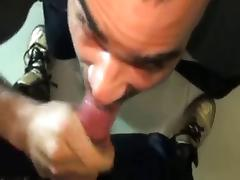 he cums on his cock then sucks it