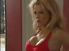Gorgeous blonde lifeguard deep throats a thick hard cock
