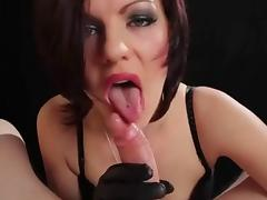Hot Euro Babe Smoking BJ and HJ in Leather Gloves