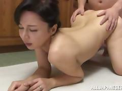 Mai Itou gets her vag licked and pounded in the kitchen