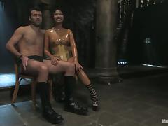 Kinky Mika Tan fingers and toys guy's ass in femdom video