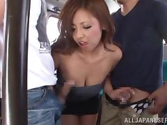 Kaede Fuyutsuki sucks and rides dicks in subway train