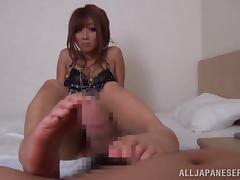 Hot Hibiki Ohtsuki gives a footjob and gets nailed