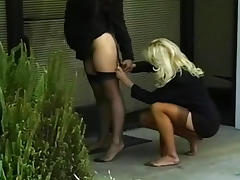 Hardcore babes are showing their asses outdoors