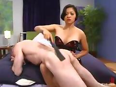 Asian slut Mika Tan fucks Billy Budd with a huge strapon