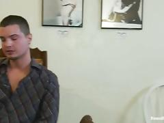 Poor guy gets tied up and fucked hard in a cafe