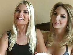 Blonde Chick Sucks Cock and Gets Ass Fucked by Shemale