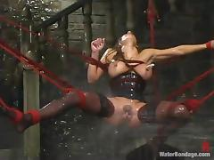 Charming sex slave is getting through a BDSM hell