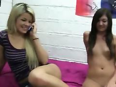 Horny delicate lesbians licking pussies