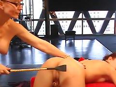 Mom pornstar spanks lesbian slave