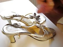 High Heels Gold Sandals cum