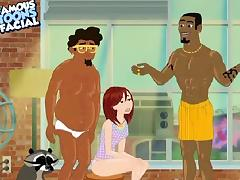 Cartoon, Blowjob, Cartoon, Interracial, Redhead, Threesome
