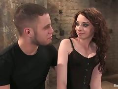 Curly Amber Keen ties up a guy and takes his dick in her pussy