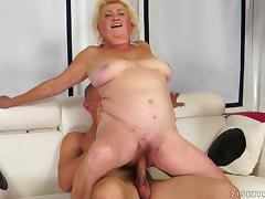 Fat blonde granny Tamara gets her cunt toyed and fucked hard