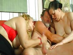 Granny Orgy, Blonde, Blowjob, Brunette, Cum, Cumshot