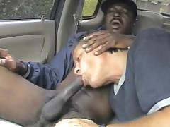 bbc full of cum gets sucked in car