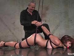 Curly Sabrina Fox gets gagged and tied up in water bondage video