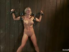 Holly Heart loves being pulled by the nipples while in fetters
