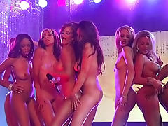 Blondes and brunettes dance and perform striptease together porn video