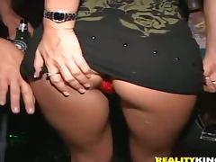 Two lewd hotties get fucked hard in the VIP lounge in public