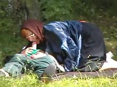 Granny Witch Fucks in the Woods porn video