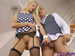 Amateur stockings hoe rides an old guy porn video