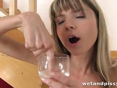 Piss Drinking, Babe, Blonde, Cute, Fetish, Masturbation