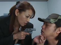 Gun, Blowjob, Brunette, Handjob, Mature, Prison