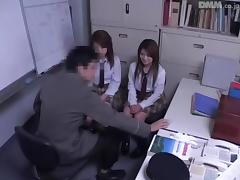 Dirty policeman had threesome sex with two Japanese bitches