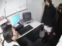 Two hot japs stripped in voyeur sex video in the office porn video