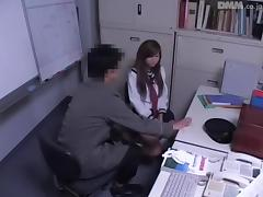 Naughty Japanese tramp got fucked hard in a police station