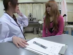 Blonde Jap babe dicked with a dildo during Gyno exam