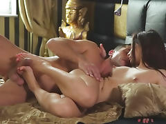 Brunette gets her nipples sucked and gives footjob porn video