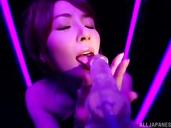 Miku Ohashi blows and gets her Japanese ass covered with jizz