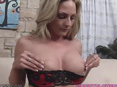 Blonde mom Sindy Lange gives a blowjob and titjob combo porn video