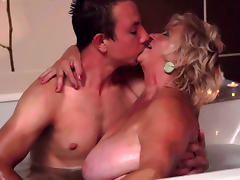 Mom and Boy, Bathroom, BBW, Blonde, Blowjob, Chubby