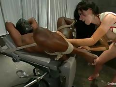 Tied Up Black Dude Getting Ball and Cock Torture and Face Sitting