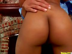 Ebony sweetie Bella Moretti gets her cute body oiled and her vag pounded