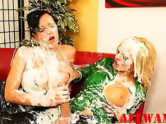 Slimy strapon horny babes