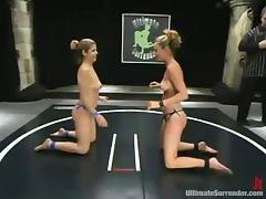 A Blonde Will Fuck The Other with Strapon after Wrestling Fight