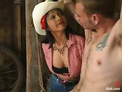Hot chick in cowboy hat ties a guy up and toy his ass porn video