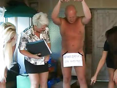 CFNM femdoms in group humiliating their pathetic sub porn video