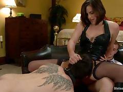 Cuckold Gets Strapon Fucked By Bobbi Starr in Femdom Video porn video