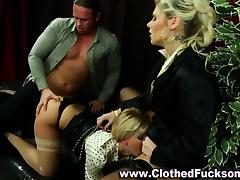 Clothed glamour threesome sluts
