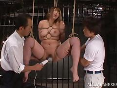 Japanese BDSM with a bondaged Shiori Kamisak
