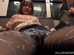 japanese slut gets covered in cum on the train porn video
