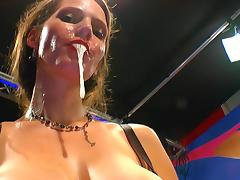German brunette Viktoria swallows nasty load