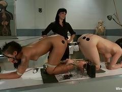Two girls get tortured with electricity by their mistress porn video